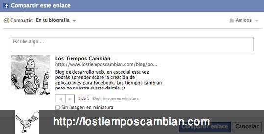 compartir URL en Facebook