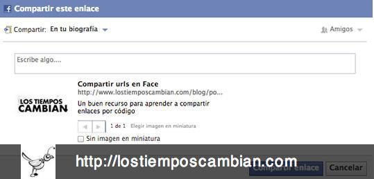 compartir URL en Facebook con parámetros título texto e imagen