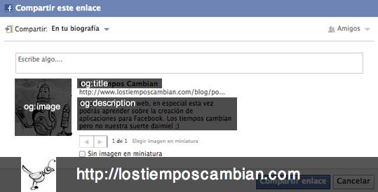 compartir URLs en Facebook