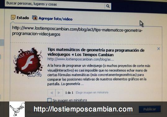 limpiar cache URL pagina web en Facebook - ejemplo incorrecto
