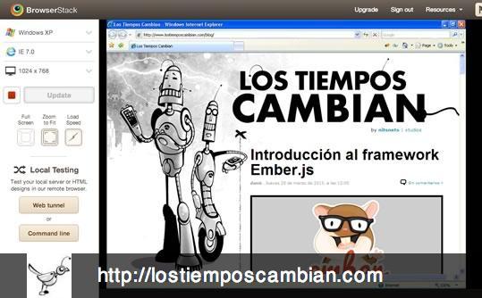 Browserstack.com con www.lostiemposcambian.com ie7 1024x768