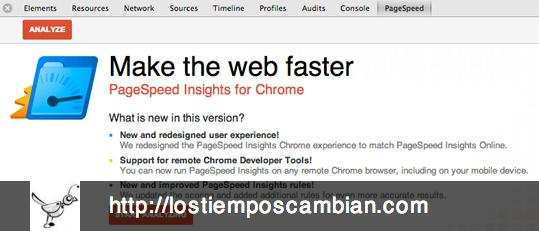 Tab de PageSpeed en Chrome Devtools