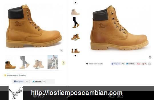 Ficha de producto Panama Jack antes / después