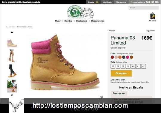 Ficha producto con resolución 1024x768 Panama Jack ecommerce 2013