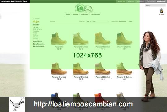 Listado de productos. 2 líneas de producto. Panama Jack ecommerce 2013