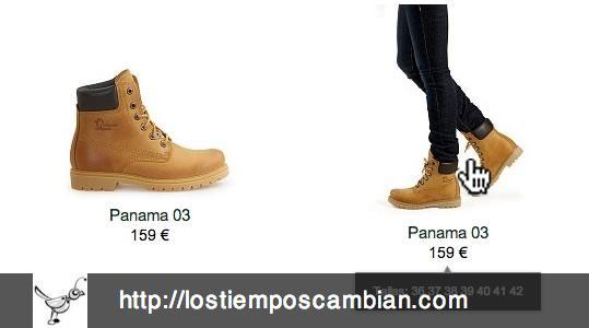 Roll-over en los productos con fotografía en uso Panama Jack ecommerce 2013