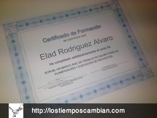 entrega de certificados Scrum taller Universidad de Alicante