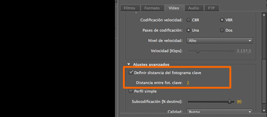 flash media encoder distancia fotogramas keyframes