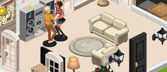 Perspectiva isomtrica del videojuego Los Sims