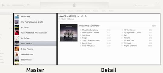 Master-Detail en iTunes